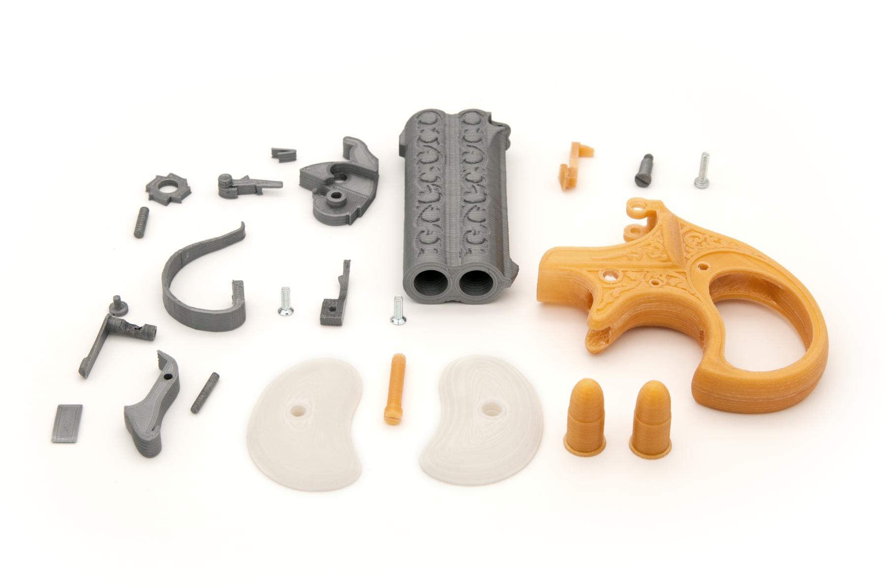 3D printed plastic model of the Remington Double Derringer all internal part
